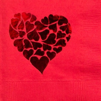 valentine's day napkins {heart on hearts} pre-printed beverage / cocktail CupOfArms GBV16