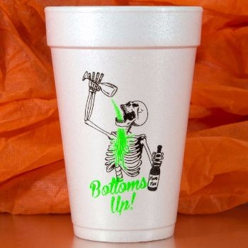 Halloween Cups Styrofoam | Bottoms Up 16oz | Black/Neon Green 2-COLOR Print | FCH26