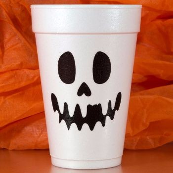 Halloween Cups Styrofoam | Halloweeb 16oz | Black/Neon Green 2-COLOR Print | FCH26