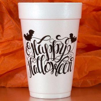 Halloween Cups Styrofoam | Happy Halloween 16oz | Black Print | FCH27