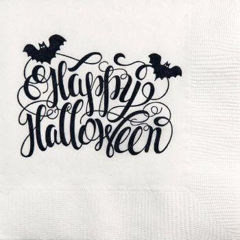 Halloween Beverage Napkins | Happy Halloween | White napkin/Black print | GBH123