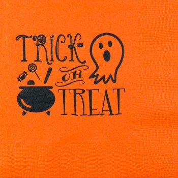 Halloween Beverage Napkins | Trick or Treat | Orange napkin/black print GBH122