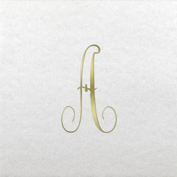 pre-printed linun antoinette initials beverage/cocktail napkins