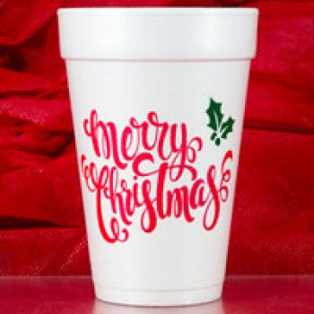 Christmas Cups Styrofoam 16oz Pre-printed | Merry Christmas Holly (Red/Green Print) | FCC167