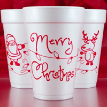 Christmas Cups Styrofoam 16oz Pre-printed | Merry Christmas Wrap (Red Print) | FCC145