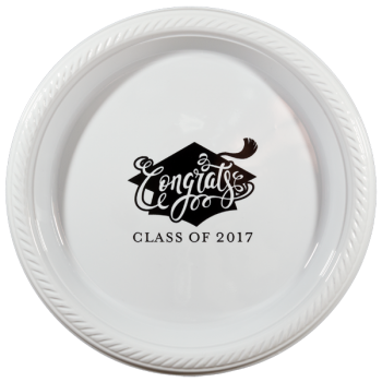 "graduation plates 7"" round plastic {congrats} PPG001 Cup Of Arrms"