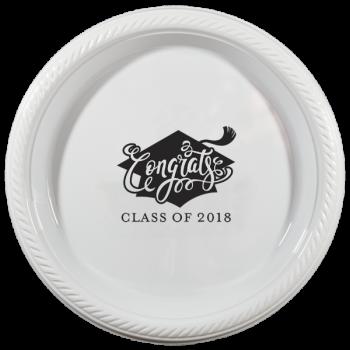 "Graduation plates | 7"" round plastic {congrats} | PPG001 Cup of Arrms"