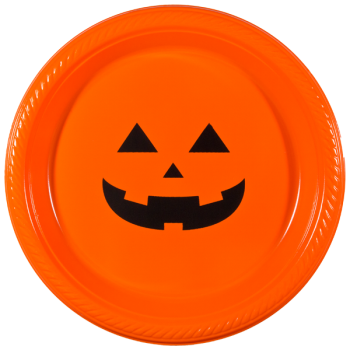 "Halloween Orange Plastic Plates 7"" Pre-printed 