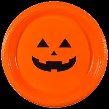 "Halloween Orange Plastic Plates 7"" Pre-printed | Pumpkin Face (Black Ink) | PPH001"
