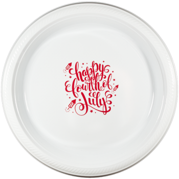 "July 4th White Plastic Plates 7"" Pre-printed 