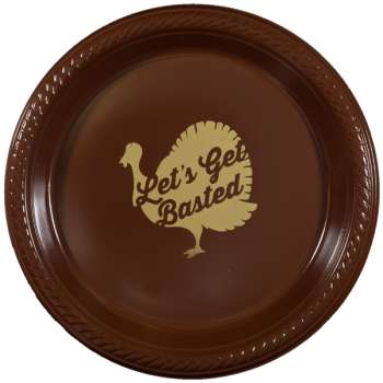 "Thanksgiving Brown Plastic Plates 7"" Pre-printed 