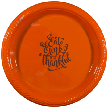 "Thanksgiving Orange Plastic Plates 7"" Pre-printed 