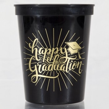 Graduation Cups Black Plastic Stadium | 16oz Pre-printed | Happy Graduation (Gold Ink) | Cup of Arms SCG001