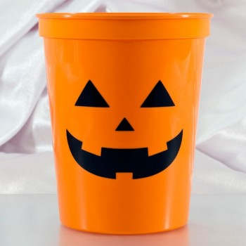 Halloween Cups Orange Plastic Stadium | 16oz Pre-printed | Pumpkin Face (Black Ink) | SCH001