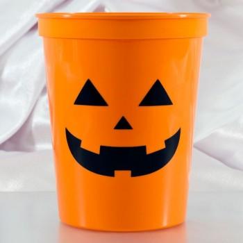 Halloween Cups Orange Plastic Stadium | 16oz Pre-printed | Pumpkin Face (Black Ink) | SCH001