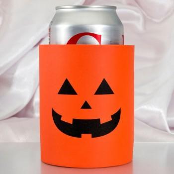 Halloween Orange Soft Foam Koozie| Pre-printed | Pumpkin Face (Black Ink) | SFHH001