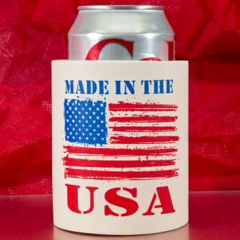 July 4th White Soft Foam Koozie | Pre-printed | USA (Red/Blue Ink) | SFHID001