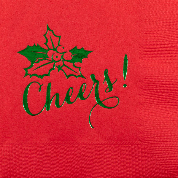 christmas holly cheers beverage napkin pre-printed CupOfArms
