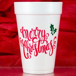 christmas merry christmas holly styrofoam cup 16oz pre-printed CupOfArms