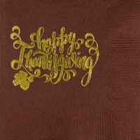 thanksgiving happy thanksgiving beverage napking pre-printed CupOfArms