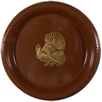 "thanksgiving turkey plastic plate round 7"" pre-printed"