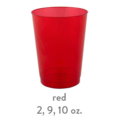 red transparent hard plastic cup