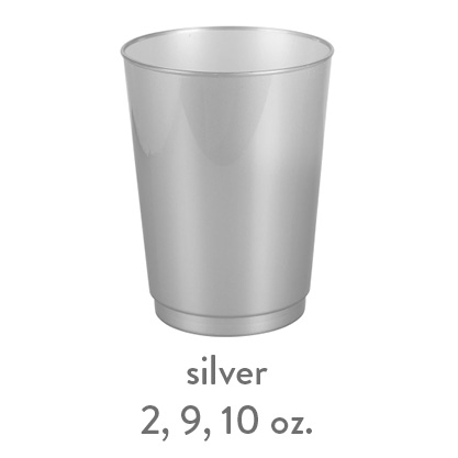 silver hard plastic cup