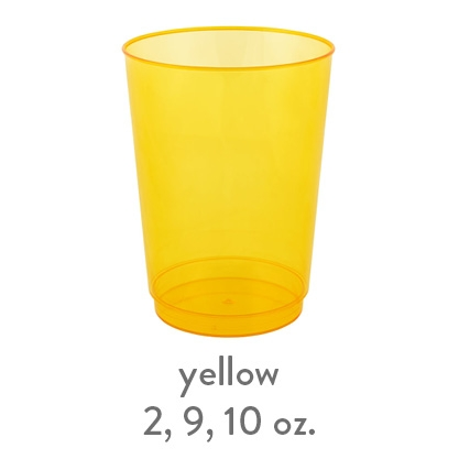 yellow transparent hard plastic cup