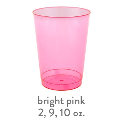 bright pink transparent hard plastic cup