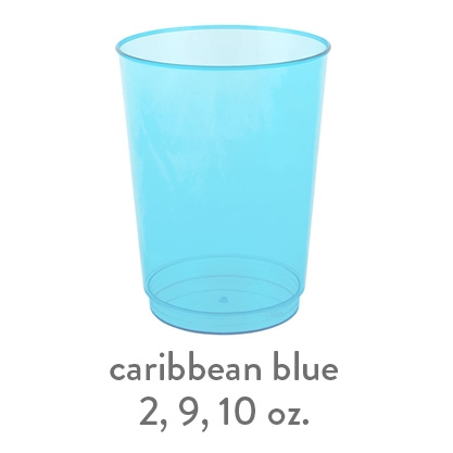 caribbean blue  transparent hard plastic cup