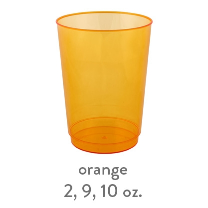 orange transparent hard plastic cup