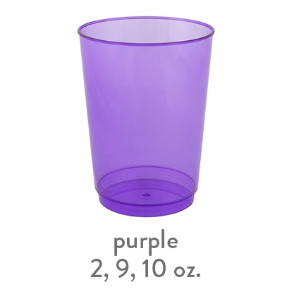 purple transparent hard plastic cup