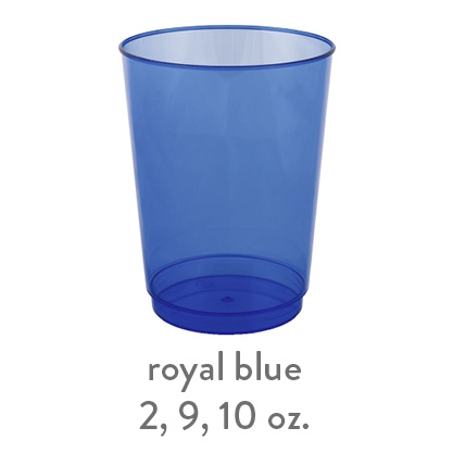 royal blue transparent hard plastic cup