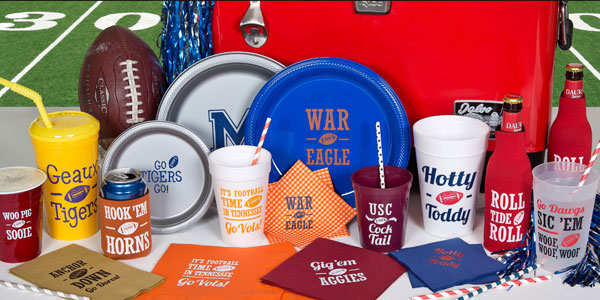 custom cups, personalized napkins, custom printed tailgating plates with Signature Collection Collegiate designs