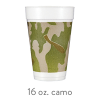 custom styrofoam camo cups 16oz