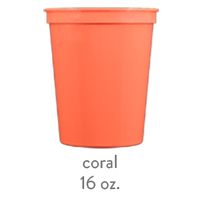 custom plastic stadium cups coral 16oz