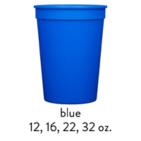 custom blue stadium cups 12oz 16oz 22oz 32oz