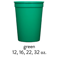 custom green stadium cups 12oz 16oz 22oz 32oz