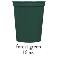 custom forest green stadium cups 16oz