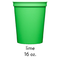 custom lime green stadium cups 16oz