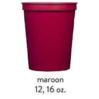 custom maroon stadium cups 12oz 16oz
