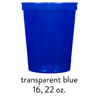 custom translucent blue stadium cups 16oz 22oz