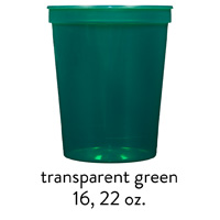 custom translucent green stadium cups 16oz 22oz