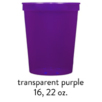 custom translucent purple stadium cups 16oz 22oz