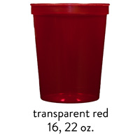 custom translucent red stadium cups 16oz 22oz