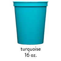 custom turquoise stadium cups 16oz